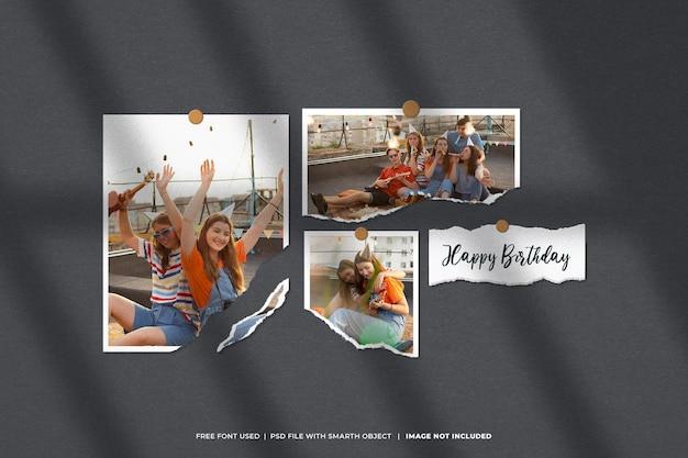 Moodboard conjunto de moldura de foto de aniversário