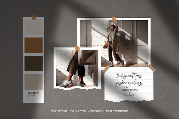 Moodboard criativo e modelo de colagem de fotos