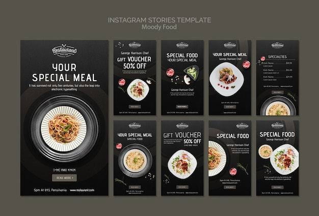 Moody food restaurant instagram stories template template mock-up