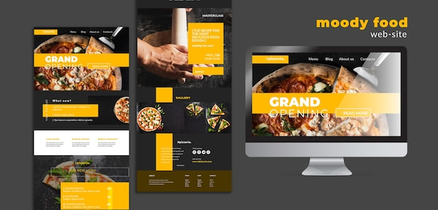Moody restaurante comida mock-up do site