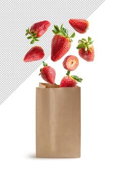 Morangos voando em saco de papel reciclável isolado renderização em 3d