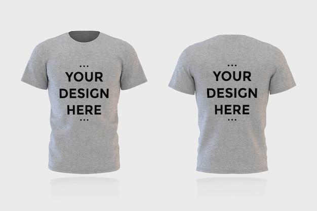 Mostra a maquete da camiseta na frente e nas costas isolada