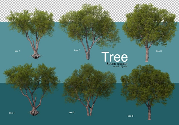 Mostra os resultados de uma variedade de arranjos de árvores