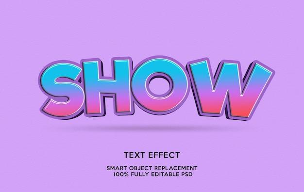 Mostrar modelo de efeito de texto
