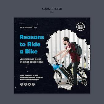 Motivos para andar de bicicleta modelo de flyer quadrado de anúncio