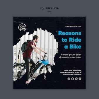 Motivos para andar de bicicleta modelo de flyer quadrado