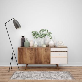 Móveis de madeira com objetos decorativos e luminária, idéias de design de interiores
