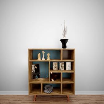 Móveis de madeira com objetos decorativos, idéias de design de interiores