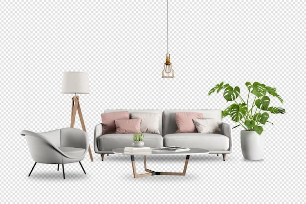 Móveis modernos na sala de estar em renderização 3d