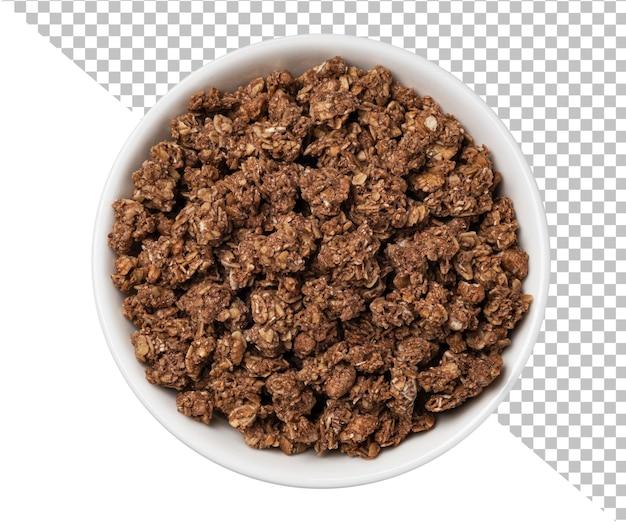 Muesli crocante de granola de chocolate isolado