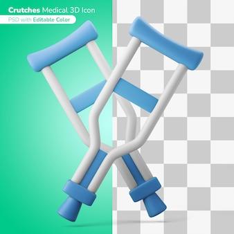 Muletas médicas equipamento ilustração 3d ícone 3d editável cor isolada