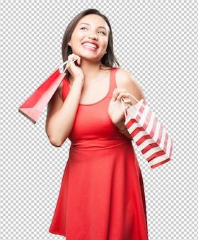 Mulher asian, com, bolsas para compras