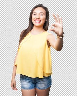 Mulher asian, fazendo, aprovação, gesto