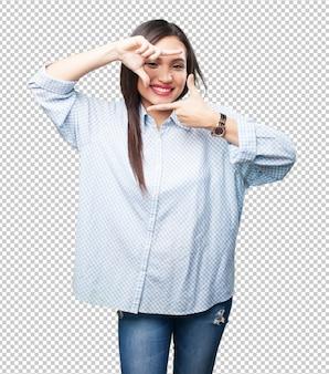 Mulher asian, fazendo, quadro, gesto