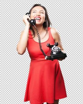 Mulher asiática, falando telefone