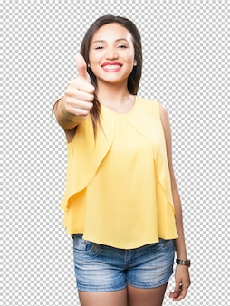 Mulher asiática fazendo gesto bem
