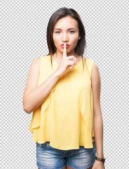 Mulher asiática, fazendo, gesto silêncio