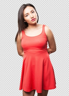 Mulher asiática posando com vestido vermelho