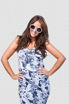 Mulher bonita, desgastar, óculos de sol