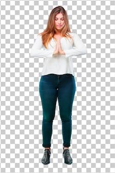 Mulher bonita jovem corpo cheio zen rezar conceito
