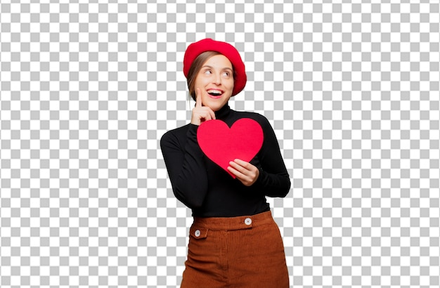 Mulher bonita nova que expressa o conceito do amor para o dia dos namorados
