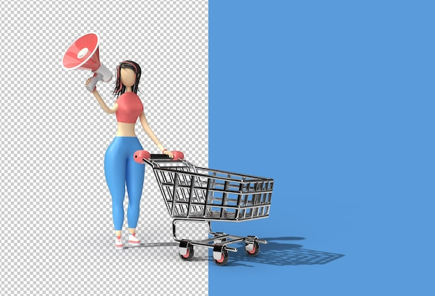Mulher com arquivo psd transparente do ícone do carrinho de compras mega phone.