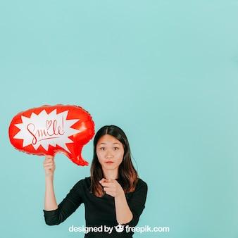 Mulher, com, balão fala, mockup