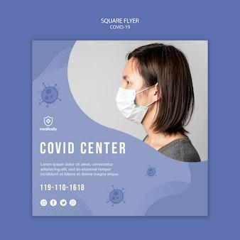 Mulher com máscara coronavirus panfleto quadrado