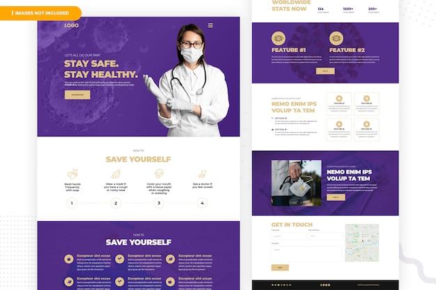 Mulher com máscara covid-19 design de página de site