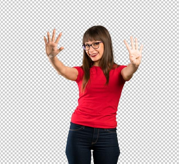 Mulher, com, óculos, contando, nove, com, dedos