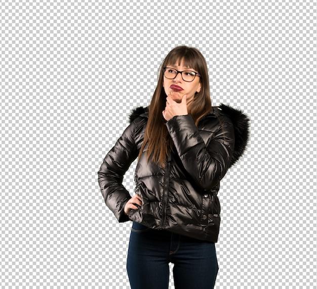 Mulher, com, óculos, pensando