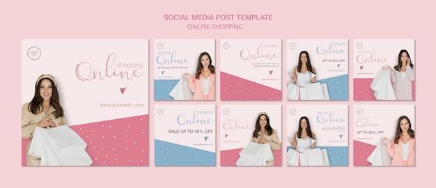 Mulher com post de mídia social de sacos de compras