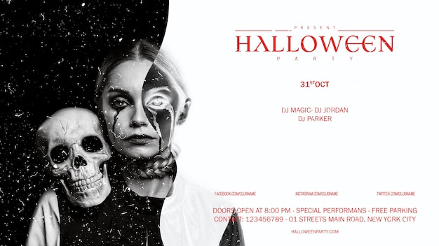 Mulher de maquiagem halloween vista frontal com crânio olhando na câmera