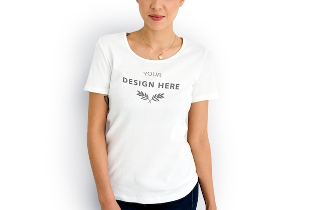Mulher, desgastar, mockup, desenho, espaço, branca, tee
