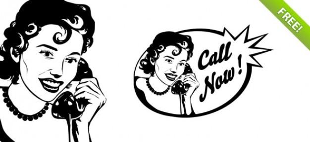 Mulher do vintage no telefone psd graphic