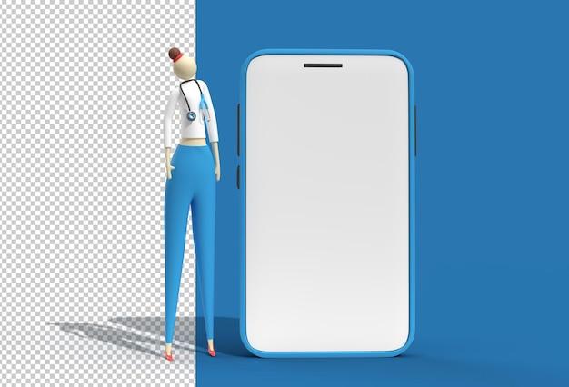 Mulher doctor wear estetoscópio com mobile mockup Psd Premium