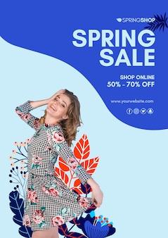 Mulher em cartaz de venda de primavera de vestido
