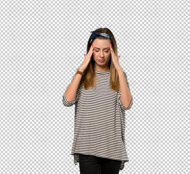 Mulher jovem, com, headscarf, com, dor de cabeça