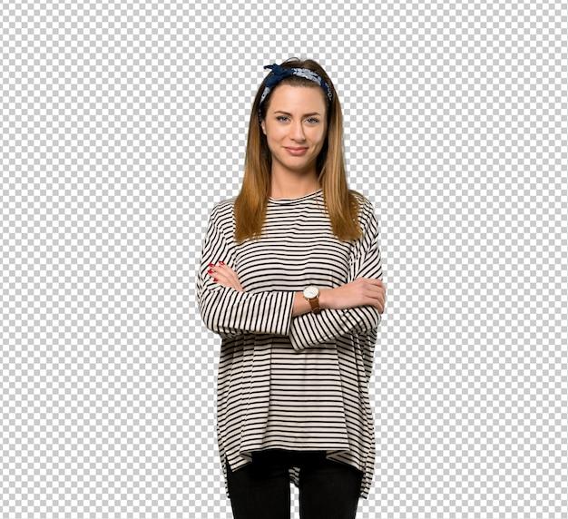 Mulher jovem, com, headscarf, mantendo, a, braços cruzaram, em, frontal, posição