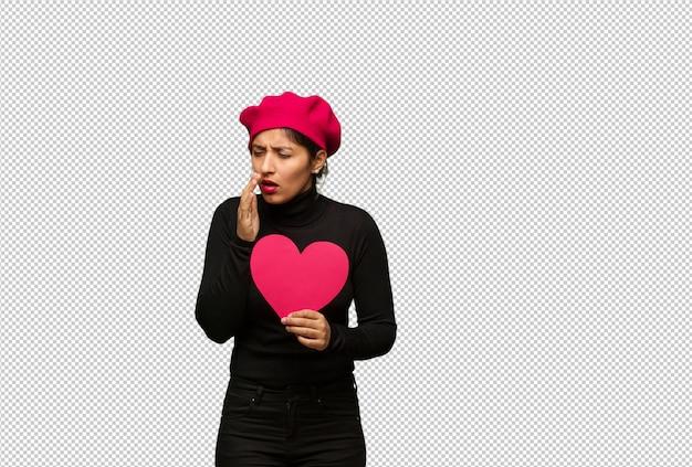 Mulher jovem, em, dia valentines, tosse, doente, devido, um, vírus, ou, infecção