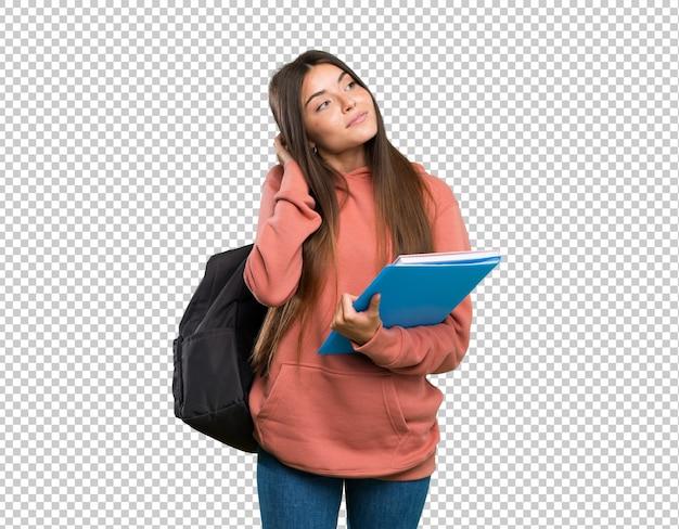 Mulher jovem, estudante, segurando, cadernos, pensando, um, idéia