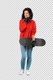 Mulher jovem patinadora pensando uma idéia