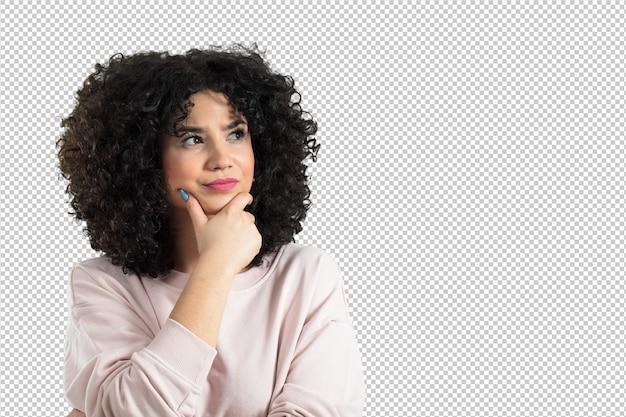 Mulher jovem, tendo uma idéia
