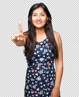 Mulher latina, fazendo, numere um gesto
