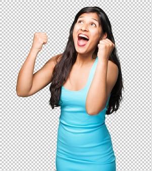 Mulher latina, fazendo, vencedor, gesto