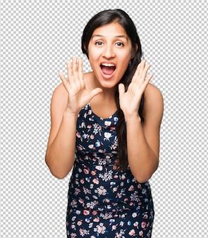 Mulher latina, gritando