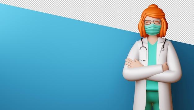 Mulher médica feliz com os braços cruzados renderização em 3d