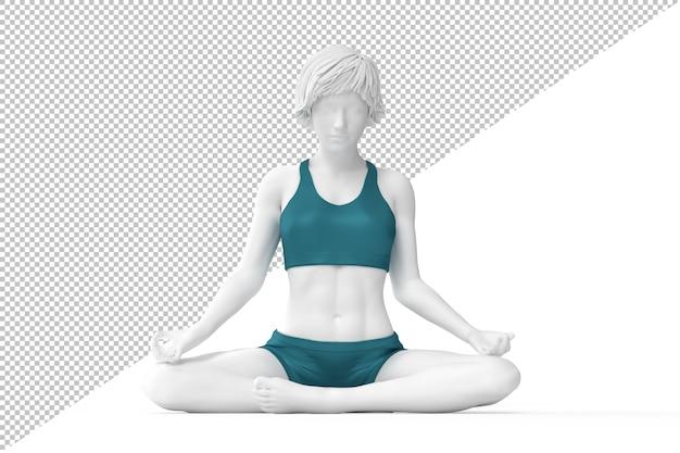 Mulher na posição de lótus meditando com os olhos fechados