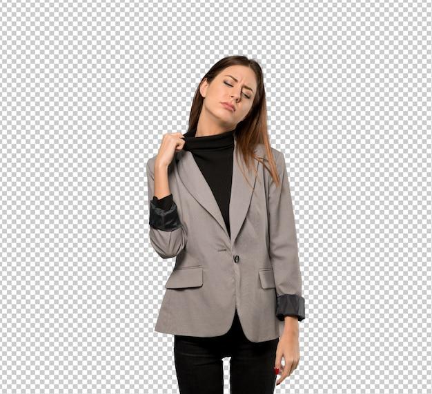 Mulher negócio, com, cansado, e, expressão doente