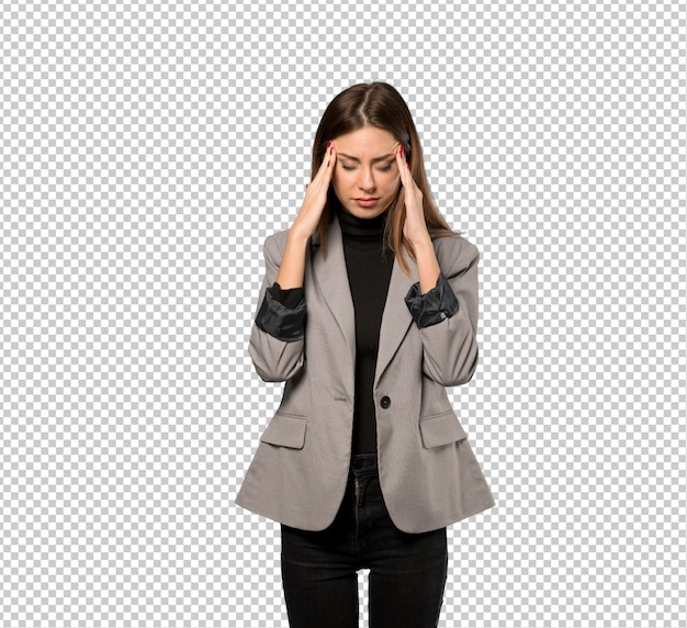 Mulher negócio, com, dor de cabeça